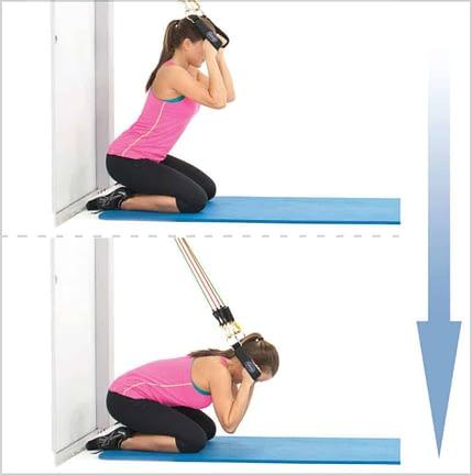exercice élastique abdo - Crunch sur les genoux