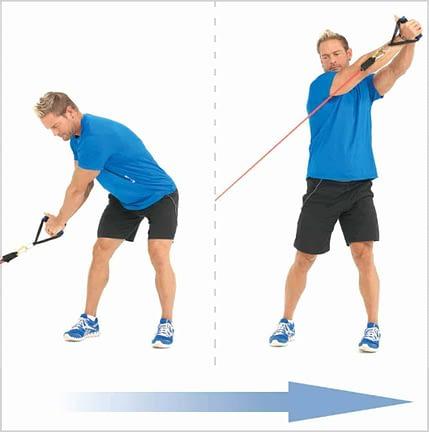 exercice élastique Abdos - tirage latéral de bas en haut